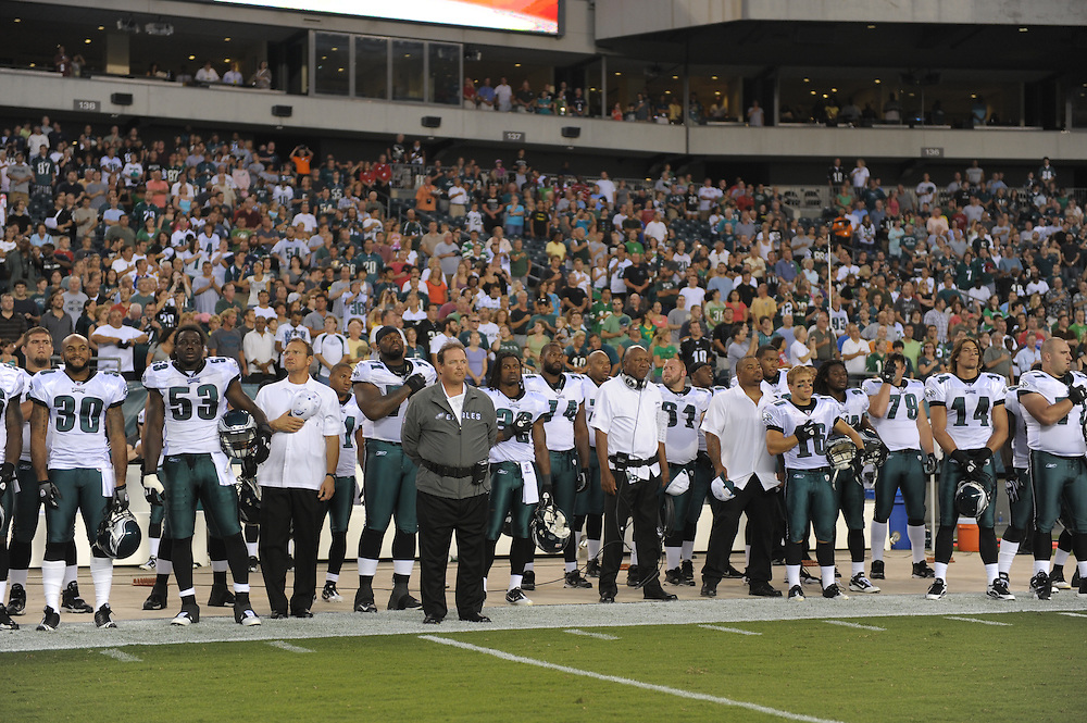 PHILADELPHIA - SEPTEMBER 2:  The Philadelphia Eagles observe the National Anthem during the game against the New York Jets on September 2, 2010 at Lincoln Financial Field in Philadelphia, Pennsylvania. The Jets won 21-17. (Photo by Drew Hallowell/Getty Images)  *** Local Caption ***