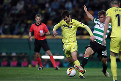 February 14, 2019 - Lisbon, Portugal - Villarreal's midfielder Manu Trigueros vies with Sporting's midfielder Miguel Luis from Portugal (R ) during the UEFA Europa League Round of 32 First Leg football match Sporting CP vs Villarreal CF at Alvalade stadium in Lisbon, Portugal on February 14, 2019. (Credit Image: © Pedro Fiuza/NurPhoto via ZUMA Press)