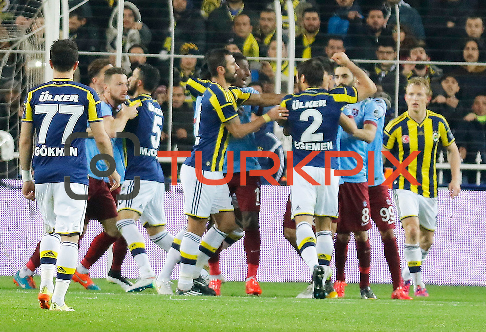 Fenerbahce's and Trabzonspor's players during their Turkish superleague soccer derby Fenerbahce between Trabzonspor at the Sukru Saracaoglu stadium in Istanbul Turkey on Saturday 07 February 2015. Photo by Aykut AKICI/TURKPIX