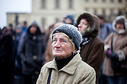 About 10000 Czech citizens accompanied the remains of Vaclav Havel from the Old Town part in Prague across Charles Bridge   up to Prague Castle, the seat of Czech presidents. People are watching on a big screen projection the speech of Czech President Vaclav Klaus as part of the  mourning ceremony  for former President Vaclav Havel at Prague Castle.