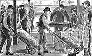 Dockers unloading sugar at West India Docks, London. Each docker wheels a trolley carrying a single sack which is recorded and marked. Engraving 1889.