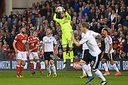 Fulham goalkeeper David Button (27) makes a save during the EFL Sky Bet Championship match between Nottingham Forest and Fulham at the City Ground, Nottingham, England on 26 September 2017. Photo by Jon Hobley.