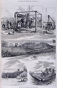 Solar Eclipse Observatory, Nicobar Islands. Showing various illustrations including 'The Equatorial Camera', 'Brownings Reflector and Spectroscopic Camera' and 'Sig Tacchini's Observatory'. Other geographical scenes include the village of Malakka, and views from observation stations. This plate was taken from 'The Illustrated London News', Vol. 66, 1875.