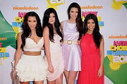 Kim Kardashian Kendall Jenner, Kylie Jenner and Kourtney Kardashian attend the 24th Annual Kids' Choice Awards in Los Angeles, CA, USA on April 2, 2011. Photo by Lionel Hahn/ABACAPRESS.COM  | 269688_030