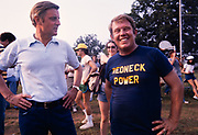 Vice President Walter Mondale (left) with Presidential brother Billy Carter in his Redneck Power tshirt.The two had just concluded a softball game on the Plains, GA high school ball field.