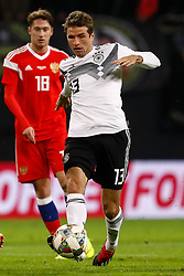 November 16, 2018 - Leipzig, Germany - Thomas Muller (R) of Germany and Anton Miranchuk of Russia in action during the international friendly match between Germany and Russia on November 15, 2018 at Red Bull Arena in Leipzig, Germany. (Credit Image: © Mike Kireev/NurPhoto via ZUMA Press)
