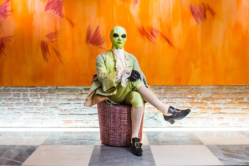 Venice, February 2019<br /> Model Gaetano Tizzoni wears a dress' 700 man light green, that was chosen to be philological in the material and model (even the lining is in silk), and then in deep contrast with the alien mask.<br /> The theme for the 2019 edition of Venice Carnival is 'Venice, the oldest city of the future!' and will run from 16th of February to 5th of March 2019.
