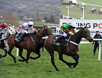 National Hunt Horse Racing - 2020 Cheltenham Festival - Tuesday, Day One (Champion Day)<br /> <br /> Winner, Barry Geraghty on Epatante races for the line, in the 15.30 Unibet Champion hurdle challenge trophy ( Class 1), at Cheltenham Racecourse.<br /> <br /> COLORSPORT/ANDREW COWIE