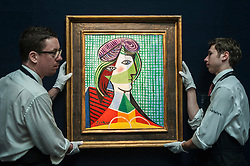"© Licensed to London News Pictures. 28/01/2016. London, UK.   ""Tête de femme"" by Pablo Picasso (est. £16-20m), on display at Sotheby's preview of its upcoming Impressionist, Modern & Surrealist art sale on 3 February featuring works by some of the most important artists of the 20th century.  The combined total of the evening sale is expected to exceed £100m. Photo credit : Stephen Chung/LNP"