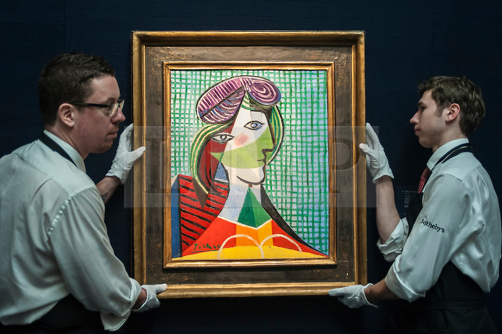 """© Licensed to London News Pictures. 28/01/2016. London, UK.   """"Tête de femme"""" by Pablo Picasso (est. £16-20m), on display at Sotheby's preview of its upcoming Impressionist, Modern & Surrealist art sale on 3 February featuring works by some of the most important artists of the 20th century.  The combined total of the evening sale is expected to exceed £100m. Photo credit : Stephen Chung/LNP"""