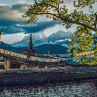 Dhaulagiri peak rises behind Muktinath Temple, north of Annapurna in Nepal.