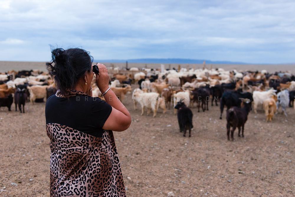 A nomad woman is looking through binoculars to see what her distant neighbors are doing, Gobi Desert, Mongolia. Photo © Robert van Sluis - www.robertvansluis.com