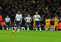 Football - 2018 / 2019 Premier Leagues - Tottenham Hotspur vs Wolverhampton Wanderers<br /> <br /> Dejected Tottenham players wait after wolves had scored their third goal at Wembley Stadium.<br /> <br /> Credit: COLORSPORT/ANDREW COWIE