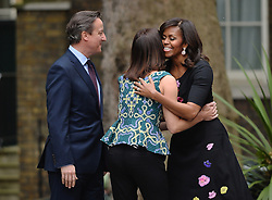 © Licensed to London News Pictures. 16/06/2015. <br /> LONDON, UK. First Lady MICHELLE OBAMA is greeted by David and Samantha Cameron as she visits Downing Street to have tea with David and Samantha Cameron, London, Tuesday 16 June 2015. Photo credit : Hannah McKay/LNP