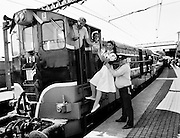 The Mosney Holiday Express, about to set off from Connolly Station, Dublin, for its run to Mosney Holiday Camp, County Meath. The express was sent on its way by Snow White (Lorraine McCourt), who had left the seven dwarfs at the Olympia Theatre in Dublin.<br /> 27 April 1989