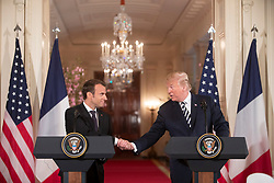 April 24, 2018 - Washington, District of Columbia, U.S. - President DONALD TRUMP, French President EMMANUEL MACRON during press conference after meeting. (Credit Image: ? White House via ZUMA Wire/ZUMAPRESS.com)