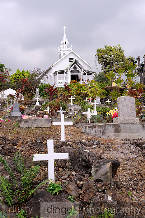 Cemetery of St. Benedict's Roman Catholic Church, also known as the Painted Church. Honaunau, Kona, Big Island, Hawaii RIGHTS MANAGED LICENSE AVAILABLE FROM www.PhotoLibrary.com