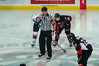 KELOWNA, CANADA - JANUARY 4:  Referee Steve Papp stands at centre ice to drop the puck for his 600th regular season game at the Kelowna Rockets against the Prince George Cougars on January 4, 2019 at Prospera Place in Kelowna, British Columbia, Canada.  (Photo by Marissa Baecker/Shoot the Breeze)