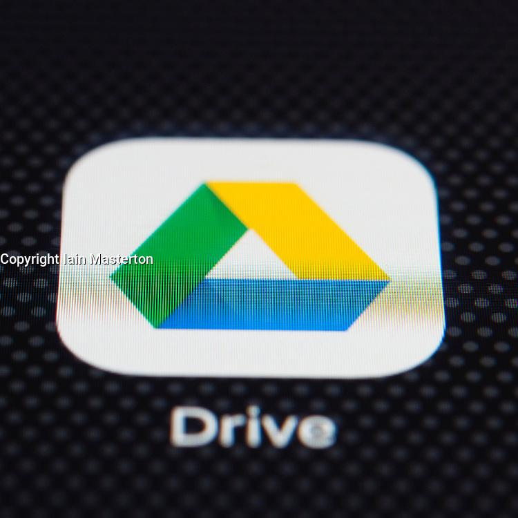 Google Drive online cloud storage service app close up on iPhone smart phone screen
