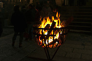 wood fire burning basket Japan, New Year's Eve shrine