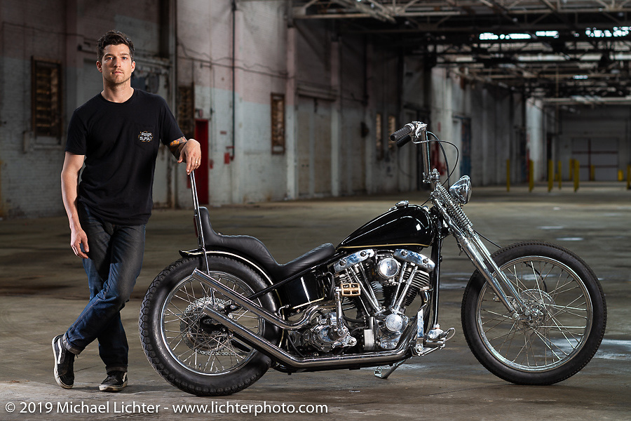 Jake Hindes with his and brother Zach's Prism Supply Co 1978 Harley-Davidson Cone Shovelhead custom after the Congregation Show. Charlotte, NC. USA. Sunday April 15, 2018. Photography ©2018 Michael Lichter.