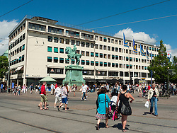 Busy streets at Kungsgatan in central Gothenburg Sweden