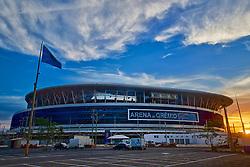 Vista geral da Arena do Grêmio, localizada no bairro Humaitá, zona norte de Porto Alegre. De acordo com a Construtora OAS, responsável pelo empreendimento, o novo estádio tricolor será inaugurado dia 8 de dezembro de 2012 e será utilizado como campo oficial de treino durante a Copa do Mundo de 2014. FOTO: Jefferson Bernardes/Preview.com