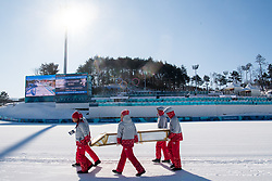 February 5, 2018 - Pyeongchang, SOUTH KOREA - 180205 Volunteers are preparing the Alpensia Cross-Country Centre ahead of the 2018 Winter Olympics on February 5, 2018 in Pyeongchang..Photo: Jon Olav Nesvold / BILDBYRN / kod JE / 160137 (Credit Image: © Jon Olav Nesvold/Bildbyran via ZUMA Press)
