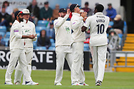 Wicket! Keith Barker of Hampshire celebrates after taking the wiicket of Gary Ballance of Yorkshire during the opening day of the Specsavers County Champ Div 1 match between Yorkshire County Cricket Club and Hampshire County Cricket Club at Headingley Stadium, Headingley, United Kingdom on 27 May 2019.