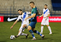 Kostas Fortounis of Greece vs Jasmin Kurtic of Slovenia during football match between National teams of Greece and Slovenia in Final tournament of Group Stage of UEFA Nations League 2020, on November 18, 2020 in Georgios Kamaras Stadium, Athens, Greece. Photo by BIRNTACHAS DIMITRIS / INTIME SPORTS / SPORTIDA