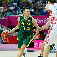 08 August 2012: Lithuania Sarunas Jasikevicius dribbles during Team Russia vs Team Lithuania, during the men's basketball quarter-finals, at the 02 Arena, in London, Great Britain.