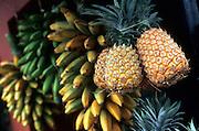 Pineapple and banana at market, French Polynesia