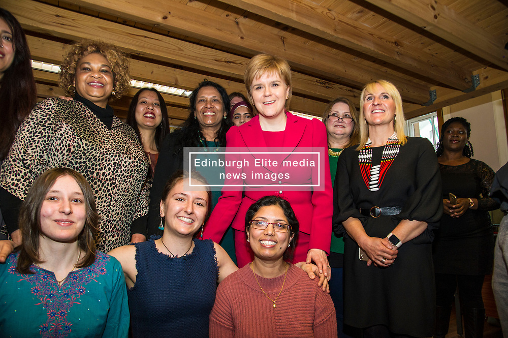 Pictured: Nicola Sturgeon, MSP with some of the many women who have been supported by Shakti Women's Aid<br /> <br /> Nicola Sturgeon, MSP, paid a visit today to Shakti Women's Aid in Edinburgh today to campaign against the Rape Clause. <br /> Ger Harley   EEm 25 April 2017