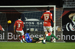 Gillingham's Jermaine McGlashan scores to make it 1-1 - Photo mandatory by-line: Dougie Allward/JMP - Mobile: 07966 386802 - 29/01/2015 - SPORT - Football - Bristol - Ashton Gate - Bristol City v Gillingham - Johnstone Paint Trophy
