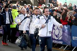 Scotland's Stuart Hogg arrives for the NatWest 6 Nations match at BT Murrayfield, Edinburgh.