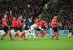 Man Utd Midfielder Marouane Fellaini (BEL) sees his header well saved by Cardiff Goalkeeper David Marshall (SCO) - Photo mandatory by-line: Joseph Meredith/JMP - Tel: Mobile: 07966 386802 - 24/11/2013 - SPORT - FOOTBALL - Cardiff City Stadium - Cardiff City v Manchester United - Barclays Premier League.
