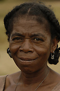 Antandroy woman. The braided and knotted hairstyle is typical of these people. Their traditional houses are made from the Endemic Didiereacaea plants. These 'people of thorns' live in the 'spiny' forests of Southern Madagascar and are mainly cattle herders - their ancestors coming from mainland Africa.<br />THREATENED HABITAT<br />MADAGASCAR