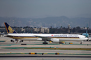 A Singapore Airlines Boeing 777-300ER taxis to the Tom Bradley International Terminal after landing at Los Angeles International Airport (LAX) on Saturday, February 29, 2020 in Los Angeles. (Brandon Sloter/Image of Sport)