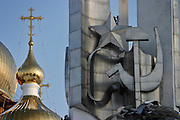 Khabarovsk, Russia, 01/03/2004.&#xD;Russian Orthodox church and Soviet memorial.&#xD;<br />