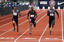 100 meter semifinal heat, Darvis Patton, Justin Gatlin, Ryan Bailey