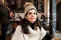 04 JAN 2012, BERLIN/GERMANY:<br /> Shermin Voshmgir, Filmemacherin und Gruenderin des Start-ups cinovu.com, Cafe Oberholz, Rosenthaler Platz<br /> IMAGE: 20120104-01-027