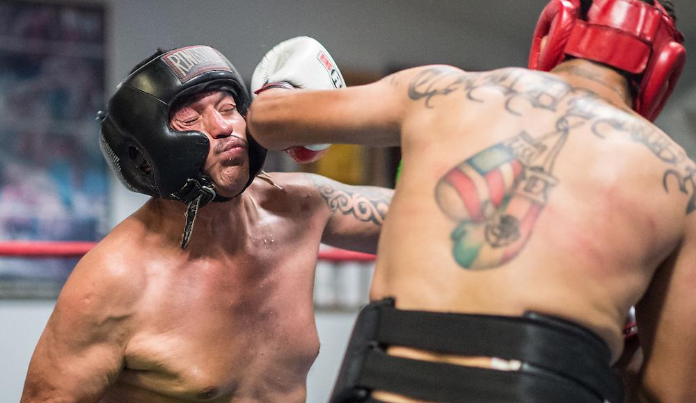 Juan Leonardo and Raul Caulderon spar at La Habra Boxing Club October 5, 2015.