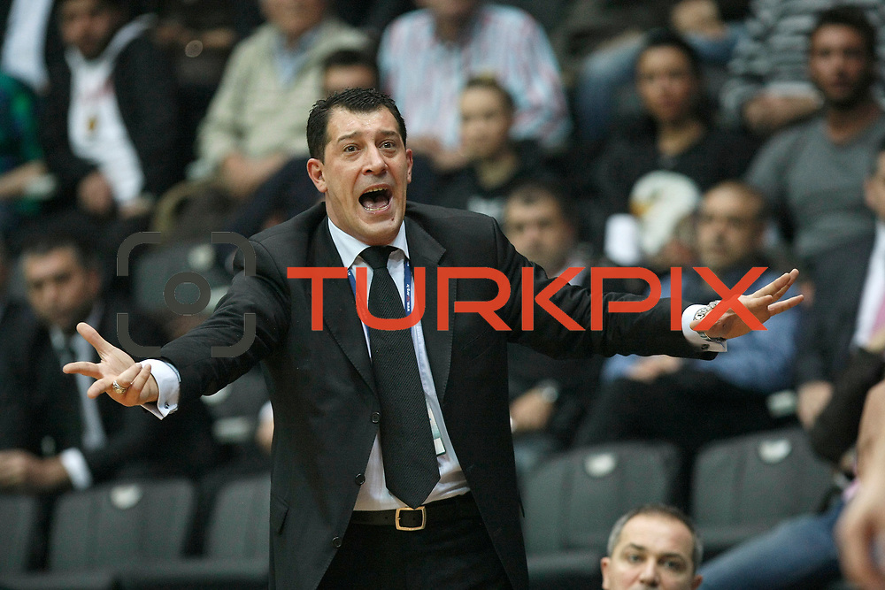 Anadolu Efes's coach Ufuk Sarica during their Turkish Basketball league derby match Besiktas between Anadolu Efes at the BJK Akatlar Arena in Istanbul Turkey on Saturday 31 December 2011. Photo by TURKPIX