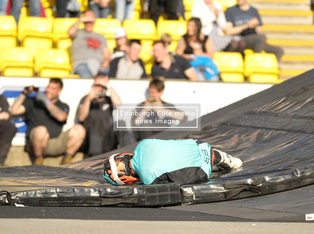 Nitro Circus Live, Livingston, Saturday 4th June 2016<br /> <br /> The trick with two guests doing a jump with the rider went wrong when the person on the back fell off as they landed. He strained his ankle and had to be helped off to the medical room.<br /> <br /> (c) Alex Todd   Edinburgh Elite media