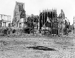Undated file photo of ruined buildings in Ypres, Belgium. Theresa May, the Prince of Wales and the Duke and Duchess of Cornwall will join the descendants of soldiers who fought at the Battle of Passchendaele at events in Belgium on Sunday and Monday to mark 100 years since the start of one of the bloodiest campaigns of the war.
