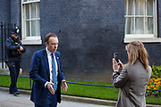 British lawmaker Matt Hancock, Secretary of State for Health and Social Care, arrives in Downing Street in London, Wednesday, March 25, 2020, to video record a message for the citizens of Britain. <br /> British lawmakers will vote later Wednesday to shut down Parliament for 4 weeks, due to the coronavirus outbreak. (Photo/Vudi Xhymshiti)