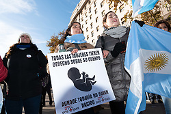 June 14, 2018 - Buenos Aires, Argentina - Chamber of Deputies narrowly approves legislation allowing abortions during the first 14 weeks of pregnancy.Argentine lawmakers approved a bill to legalize elective abortions following a heated debate over a proposal that would make the country the first major Latin American nation to ease strict antiabortion laws..After a session lasting more than 22 hours, the lower house of Congress voted 129 versus 125 in favor of legislation to allow abortions during the first 14 weeks of pregnancy. (Credit Image: © Maximiliano Javier Ramos via ZUMA Wire)