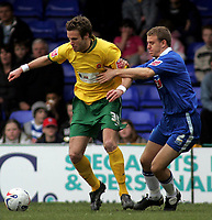 Photo: Paul Thomas.<br /> Stockport County v Hartlepool United. Coca Cola League 2. 17/03/2007.<br /> <br /> Robert Clare of Stockport battles with Andy Monkhouse (L).