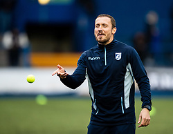 Cardiff Blues coach Richie Rees during the pre match warm up<br /> <br /> Photographer Simon King/Replay Images<br /> <br /> Guinness PRO14 Round 2 - Cardiff Blues v Edinburgh - Saturday 5th October 2019 -Cardiff Arms Park - Cardiff<br /> <br /> World Copyright © Replay Images . All rights reserved. info@replayimages.co.uk - http://replayimages.co.uk