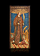 Gothic altarpiece of Saint Catarina (Catherine), 3rd quarter of the 15th century, tempera and gold leaf on for wood.  National Museum of Catalan Art, Barcelona, Spain, inv no: MNAC   114746-7. Against a black background. . .<br /> <br /> If you prefer you can also buy from our ALAMY PHOTO LIBRARY  Collection visit : https://www.alamy.com/portfolio/paul-williams-funkystock/gothic-art-antiquities.html  Type -     MANAC    - into the LOWER SEARCH WITHIN GALLERY box. Refine search by adding background colour, place, museum etc<br /> <br /> Visit our MEDIEVAL GOTHIC ART PHOTO COLLECTIONS for more   photos  to download or buy as prints https://funkystock.photoshelter.com/gallery-collection/Medieval-Gothic-Art-Antiquities-Historic-Sites-Pictures-Images-of/C0000gZ8POl_DCqE